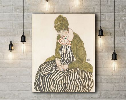 Egon Schiele: Edith with Striped Dress, Sitting. Fine Art Canvas.